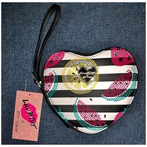 Betsey Johnson | Stripe Heart Coin Purse Wristlet